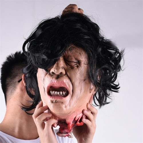 Simulation Long Black Hair Ghost Head Halloween Horror Decorations Ghost Decapitated Head Haunted House Escape Decor Hang Props