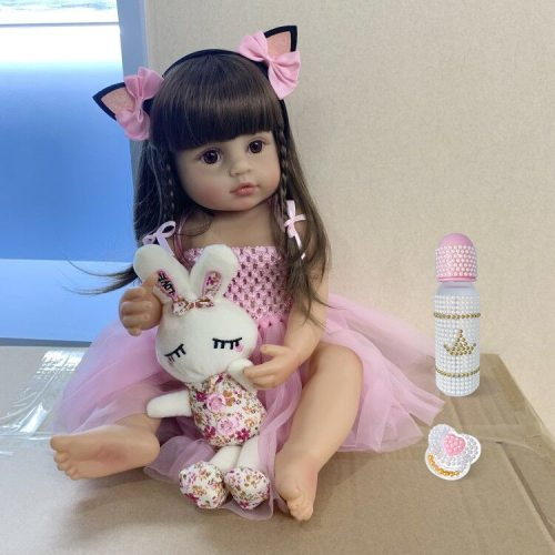 55CM real size baby doll reborn toddler girl pink princess bath toy very soft full body silicone girl doll surprice
