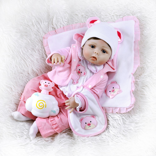 56CM reborn toddler girl doll full body soft silicone 0-3M real baby size  bebe doll reborn  Bath toy Anatomically Correct
