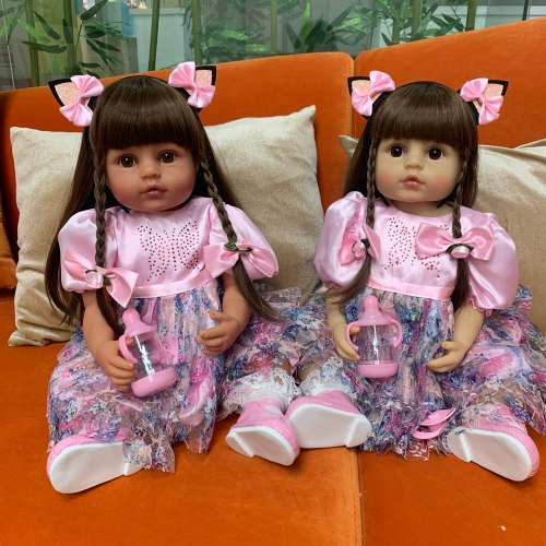 55CM very soft full body silicone bebe doll reborn girl toddler princess baby doll bath toy waterproof two skin color lifelike