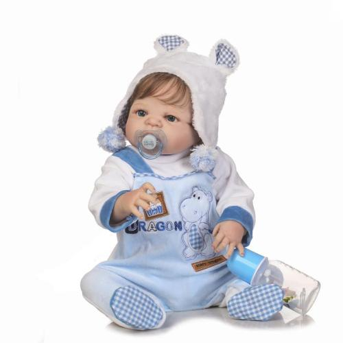 56cm lifelike reborn doll soft real gentle touch boy doll full vinyl silicone popular doll for children Birthday Gift