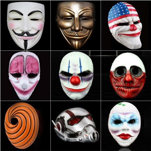 High-grade Payday 2 Ant Batman V Vendetta God Smiley Face Resin Masks Halloween Party Cosplay Masquerade Festive Party Supplies
