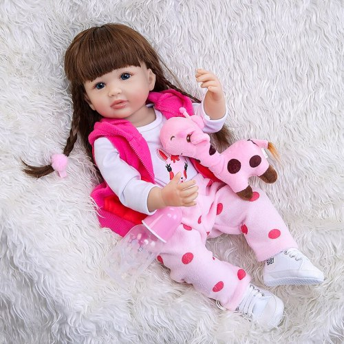 55CM Girl gift  full body silicone  reborn toddler girl doll lifelike real soft touch bath toy Anatomically Correct