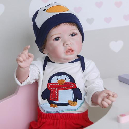 56CM  lovely soft full body silicone 100% hand-made detailed painting collectibles rebborn baby doll