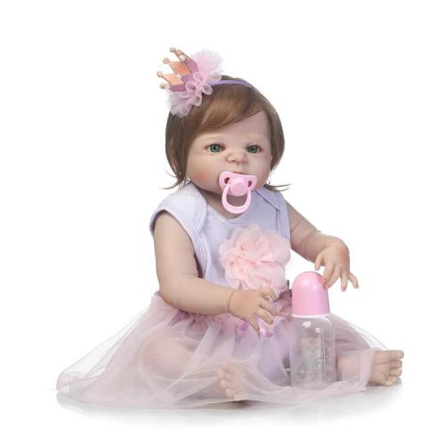 57cm lovely full silicone sumilation reality newborn baby girl with crown headdress silicone reborn baby dolls