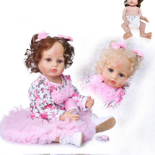 55CM original  new design hand rooted curly hair lifelike real touch reborn baby girl doll toddler full body soft silicone