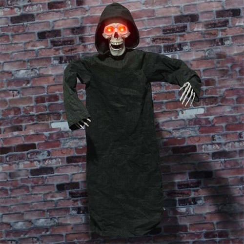 Halloween Party Decor Horror Props Halloween Decorations for Home Hanging Electric Ghost with Skull Head Creepy Eyes Sacay Prop