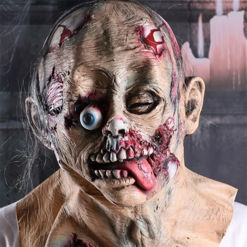 Halloween Cosplay Party Props Headgear Scary Zombie Mask Head Wear Realistic Mask Rotten Bloody Mask Mascaras De Latex Realista