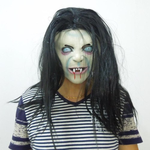 Halloween Female Ghost Mask Scary Halloween Props Horror Mask Japan Scary Headgear Adult Ghost Face Mascara Latex