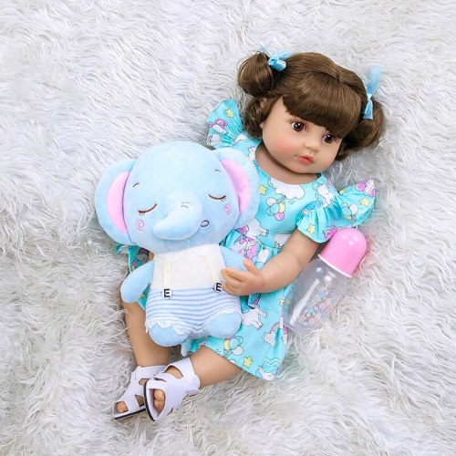 55CM reborn baby toddler girl very soft full body silicone doll bath toy