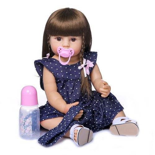 55CM original reborn baby toddler gir very soft full body silicone doll bath toy