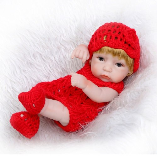 Classic 12 Inch Princess Girl Doll Handmade Full Silicone Vinyl Reborn Baby Dolls With Red Clothes Set Kids Birthday Gift