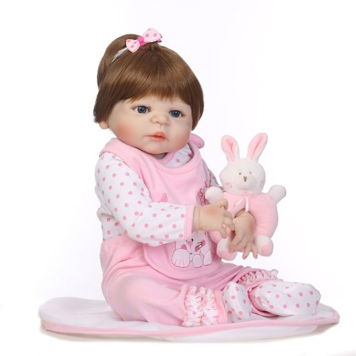 56CM full silicone bebe bonecas lifelike baby girl with lovely stress kids brithday gift silicone reborn baby dolls