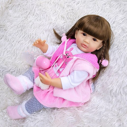 55CM Full body bebe doll silicone reborn toddler girl doll ifelike real soft touch bath toy Anatomically Correct