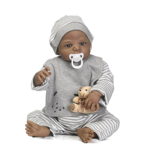 57cm new arrival black skin simulation newborn baby with painted hair best kid gift full silicone reborn baby dolls