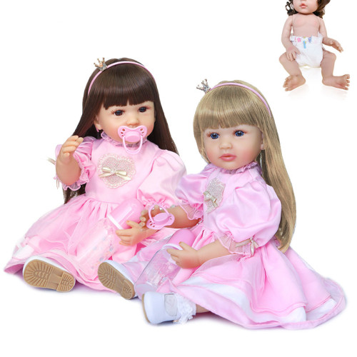 55CM full body silicone original  bebe doll reborn toddler girl princess doll in pink dress two hair colors bath toy