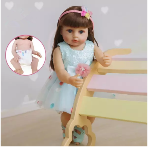 55CM  reborn todder  girl gift fashion doll blue skirt lifelike real soft touch full body silicone rooted hair