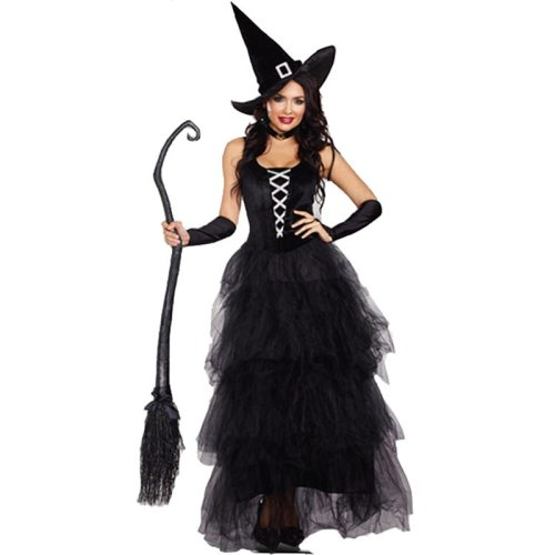 Women Sexy Witch Costumes Adult Fantasy Black Witch Dress UP Women Halloween Carnival Costume Fancy Dress