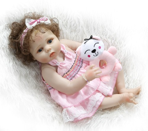 56CM full body slicone reborn baby doll girl bebe doll reborn Bath toy hand-rooted curly hair Anatomically Correct