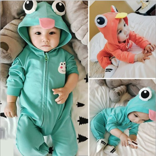 Cute frog Ear Hooded Baby Rompers For Babies Boys Girls Clothes Newborn Clothing Jumpsuit Infant Costume Baby Outfits pajamas