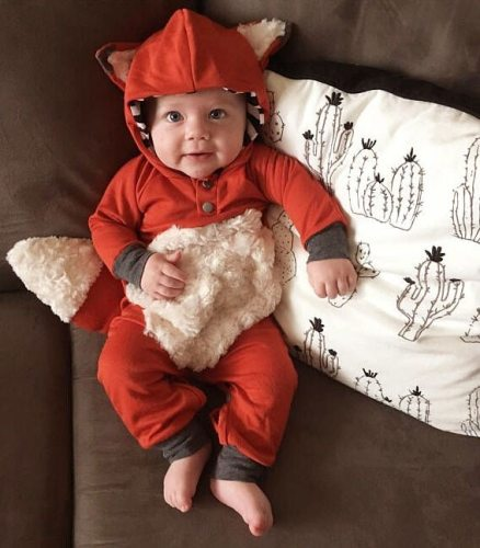 Newborn Infant Baby Girls Romper Autumn Winter Pretty Romper Long Sleeve Hooded Animal Lovely Warm Jumpsuits Romper Outfit 0-24M
