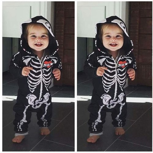 Infant Kids Halloween Carnival Purim Costume Toddler Skull Bone Skeleton Jumpsuit Cosplay Horror Baby Zipper Hooded Romper