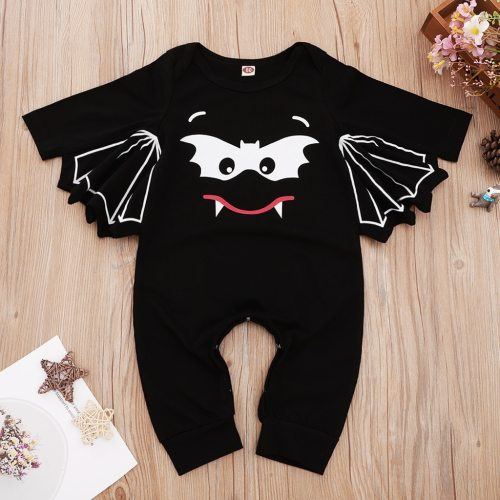 Toddler Kids Baby Boy Clothes Halloween Costume For Baby Girls Cartoon Print Halloween Cosplay Bat Baby Kawaii Outfit Jumpsuit