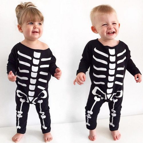 NEW 2020 Winter Halloween Children Romper Clothes Newborn Baby Boy Girl Halloween Rompers Cotton Skeleton Costume Clothes Outfit