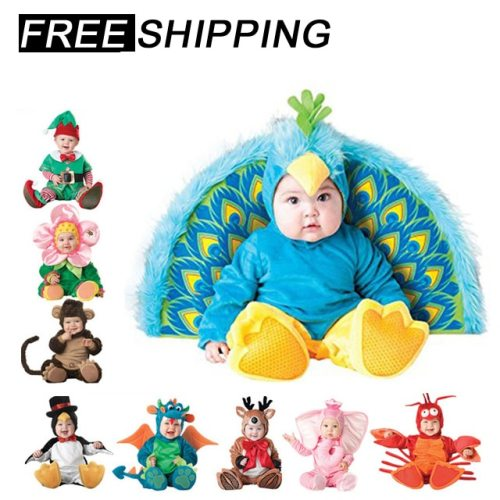 2020 Halloween Costume baby boy clothes Girls Monkey Polar Bear Romper Kids Clothing Set baby hat socks Toddler Cosplay set