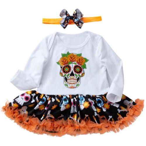Mexican Skull Toddler Halloween Costume for Baby Girl Clothes Sets Romper Dress Headband Girls Halloween Outfits Infant Clothing