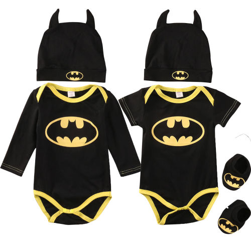 Batman Rompers Bodysuit Shoes Hat Costumes 3Pcs Jumpsuits Halloween Newborn Baby Boy Girl Clothes Summer Autumn Outfits Sets