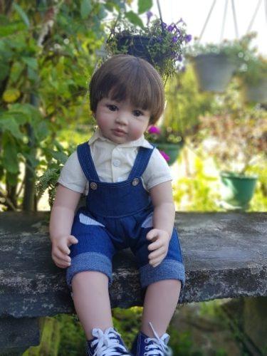 60cm Reborn Toddler Boy Doll Silicone Vinyl Limbs 24  Cute Baby Doll Cloth Body Birthday Gift Girls Play House Boneca