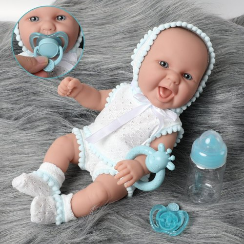 30cm Simulation lifelike bebe reborn doll 12 inch waterproof Silicone lovely newborn baby Feeding bottle Fashion clothes toys