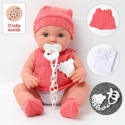 30 cm Realistic bebe reborn Doll 12 inch simulation sound lifelike Silicone Baby Doll Clothes dress set for toys children