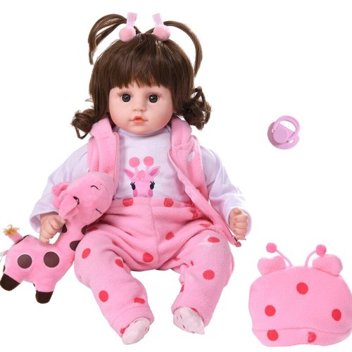 Itouch and Curly Hair Function 45CM Bebe Reborn Silicone Cute Reborn Toddler Baby Dolls Toys For Girls Soft Stuffed Body Toy For Girl Gifts (Please see the video)
