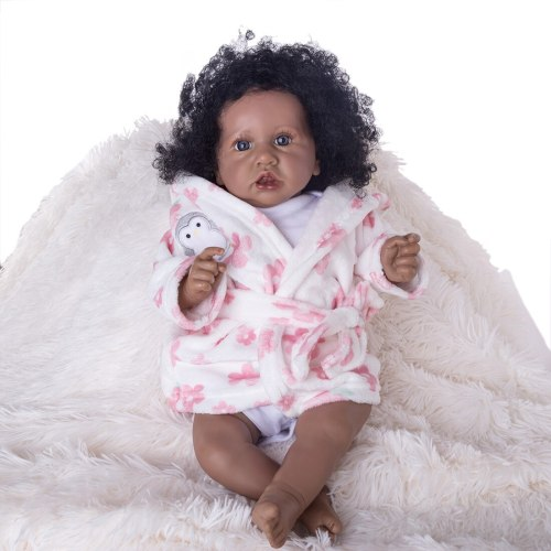 22 Inches Saskia Series Cute Dark Skin Girl Little Elsie Reborn Baby Dolls with Full Clothes - Cloth Body Doll Heartbeats/Tears