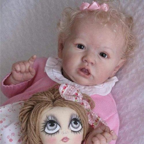 22 Inches Saskia Series Oaklynn Reborn Baby Doll Girl Doll Costume Accessories Set - Silicone Vinyl/Cloth Body (Cloth is Random)
