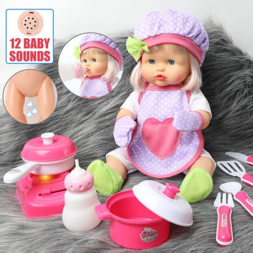 40CM bebe reborn Doll Simulation sound silicone waterproof 16 inch Realistic baby Doll Doctors clothes Kitchen set For Toys kids