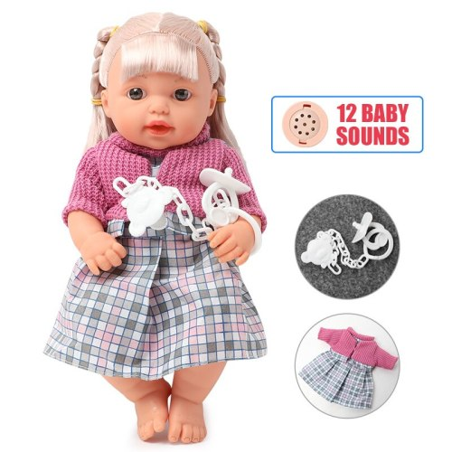 30CM Realistic bebe reborn Doll sound full body soft silicone 12 inch newborn baby Doll long hair Clothes set Boneca kids Toys