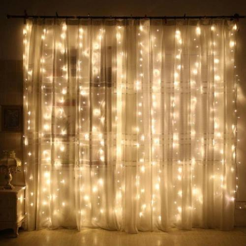 1Pcs 2x3/1x3/3x3m Fairy Led Curtain String Light Wedding Decoration Light 300 Led Christmas Light Home Window Party Decor Light