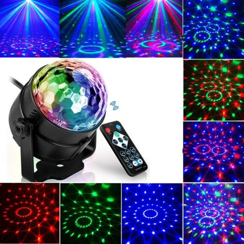 1Pcs Colorful Sound Activated Disco Ball LED Stage Lights 3W RGB Laser Projector Light Lamp Christmas Party Supplies Kids Gifts