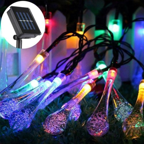 6.5/5M 30LED Solar Droplet Bulb Fairy String Lights Outdoor Waterproof Christmas Garden Light Lawn Courtyard Solar Lamp Decor