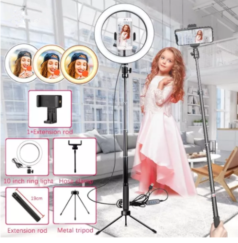 Led Ring Light with Tripods Stand Photography Dimming Video Live Youtube TikTok 10 Inch Selfie RingLight Phone Makeup 26cm