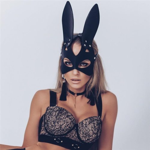 Sexy Cosplay Rabbit Bunny Masks Women Girl Black Leather Adjustable Adult Play Special Cat Ears Halloween Party Masks Costume