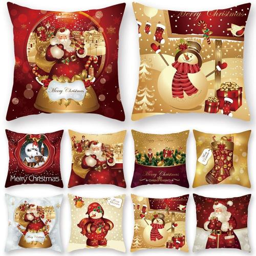 Christmas Cushion Cover Merry Christmas Decorations for Home 2020 Christmas Ornament Navidad Noel Xmas Gifts Happy New Year 2021