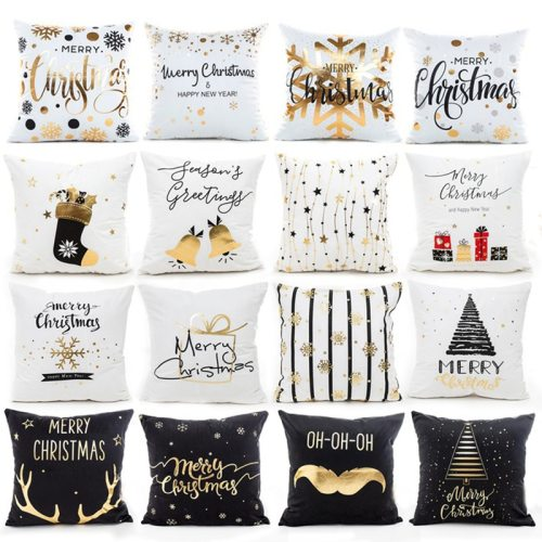 45x45cm Pillowcase Merry Christmas Decor for Home Christmas 2020 Ornaments Cushion Cover New Year 2021 Noel Gift Xmas