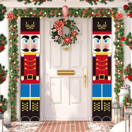 Nutcracker Soldier Banner Christmas Decor For Home Merry Christmas Door Decor 2020 Xmas Ornament Happy New Year 2021 Navidad (A Pair Pirce)