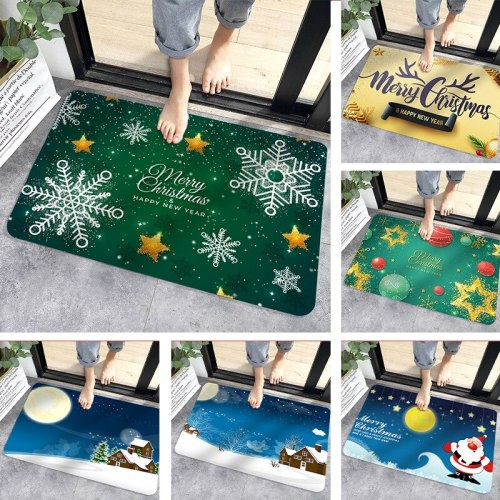 Christmas Crystal Flannel Mat Xmas Floor Mat Happy New Year 2021 Merry Christmas Doormat 2020 Merry Christmas Decor For Home