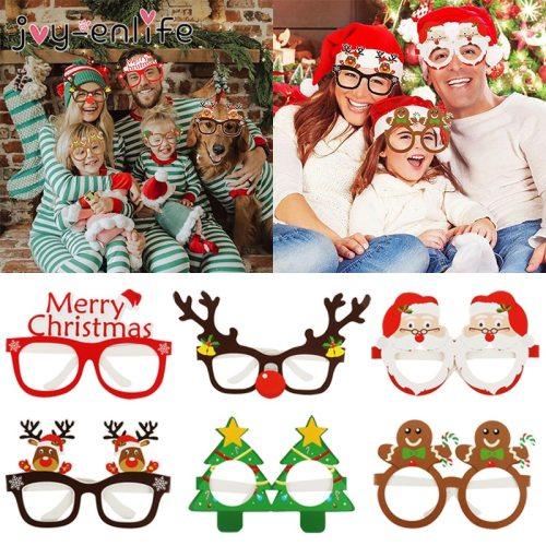 9pcs Christmas Glasses Santa Claus Snowman Snowflake Tree Elk Paper Glasses Party Photo Props 2020 Christmas Decoration For Home