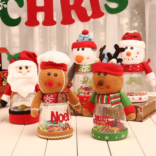 Christmas Candy Jar Santa Claus Elk Snowman Merry Christmas Decorations For Home Xmas Navidad 2020 Happy New Year 2021